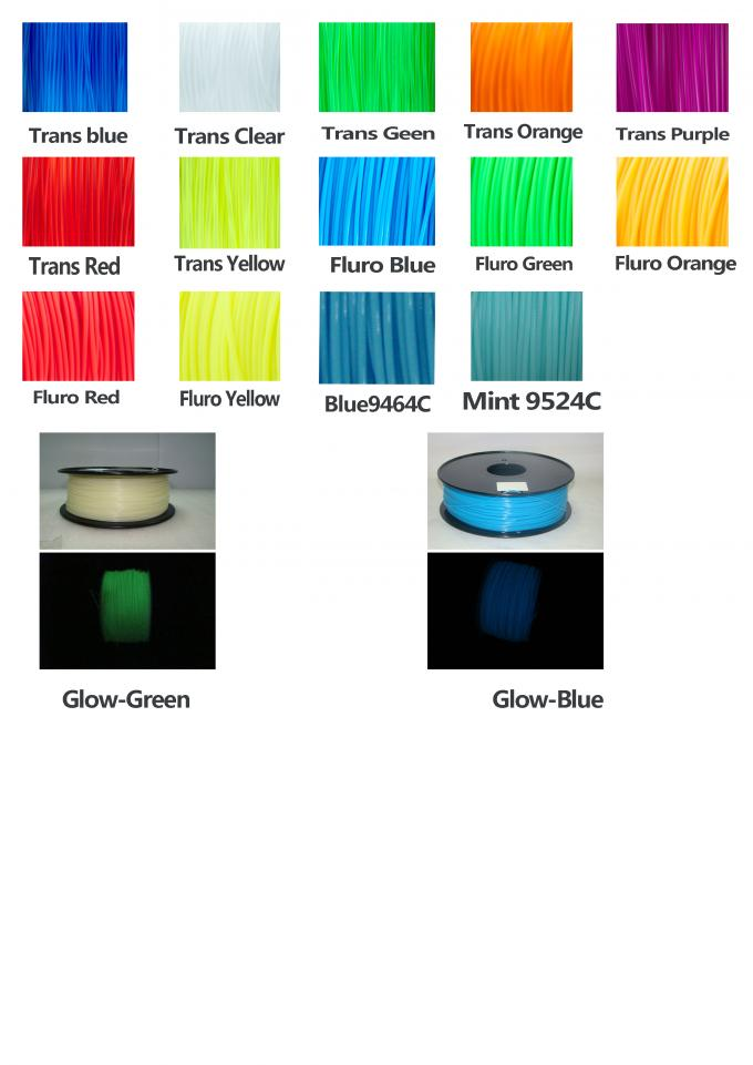 ABS Blue Fluorescent Filament  , 1.75mm / 3.0mm 3D Printer Filament 1kg / Spool