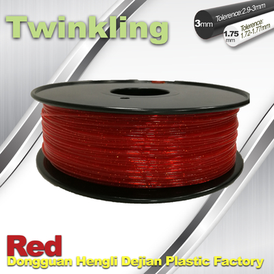 Flexible 3D Printer Filament Twinkling 3mm 1.75mm Red Filament 1.3Kg / Roll